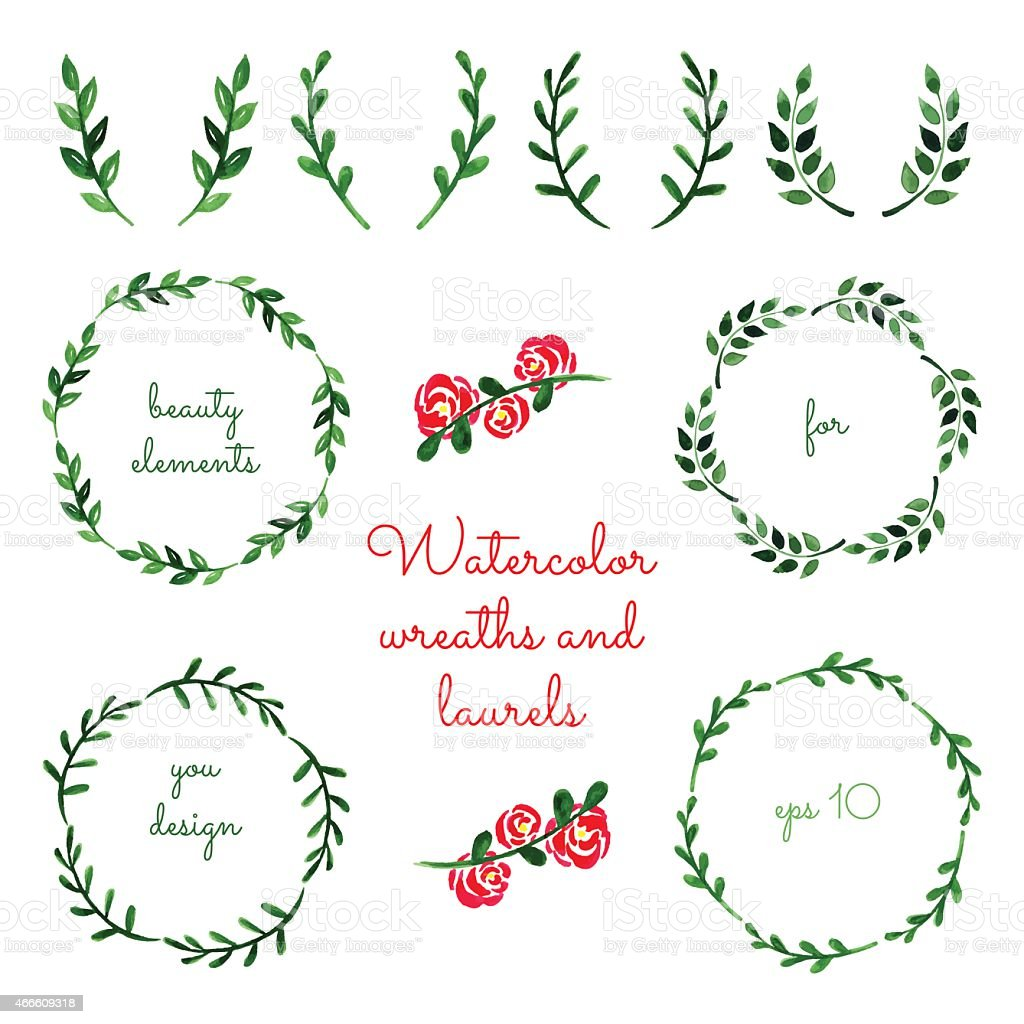 Set of watercolor wreaths and laurels. vector art illustration