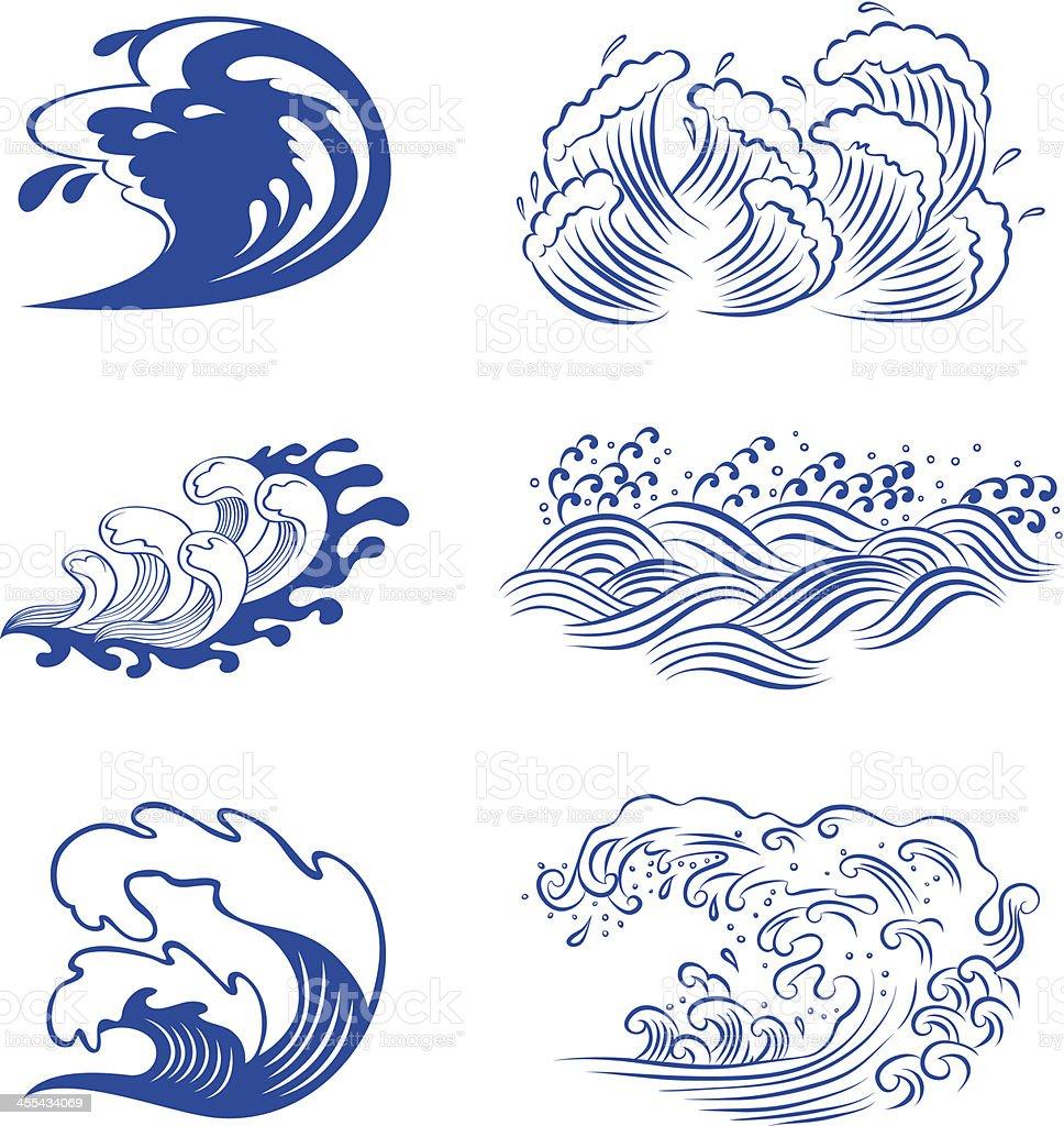 Set of waves royalty-free stock vector art