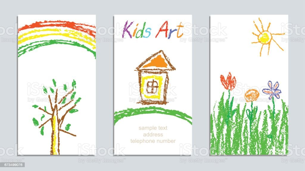 Set of wax crayon kid`s drawn colorful cards with hand drawing flowers, house, sun, tree, rainbow on white. Hand drawn art background. vector art illustration