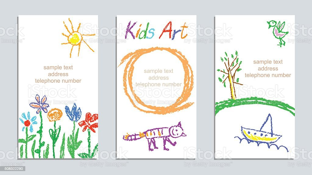 Set of wax crayon kid`s hand drawn colorful cards vector art illustration