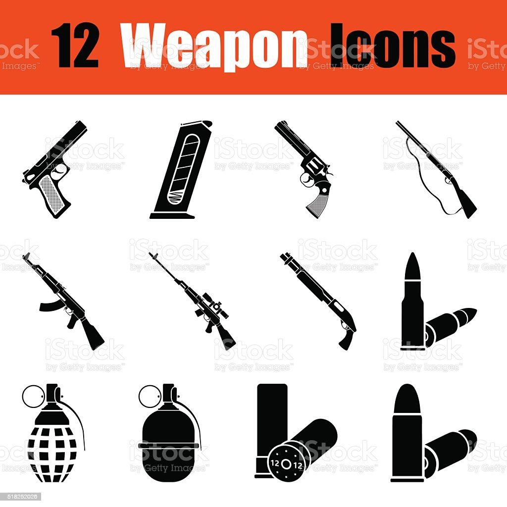 Set of weapon icons vector art illustration