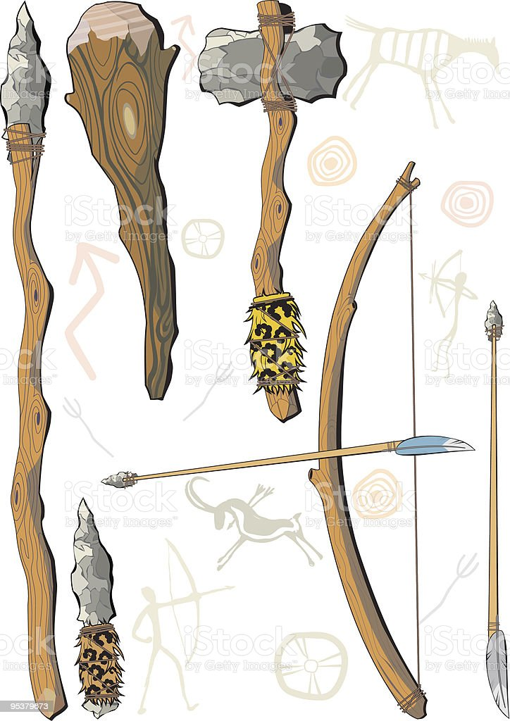 set of weapon prehistoric man vector art illustration