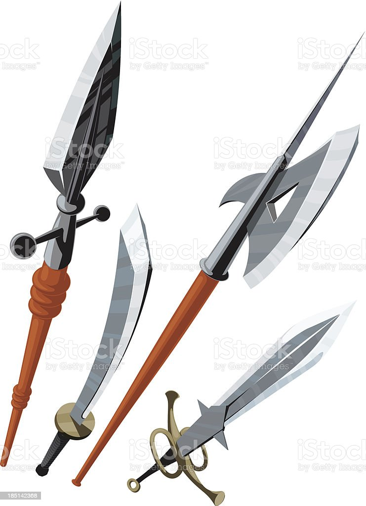 set of weapons blade angled forward royalty-free stock vector art