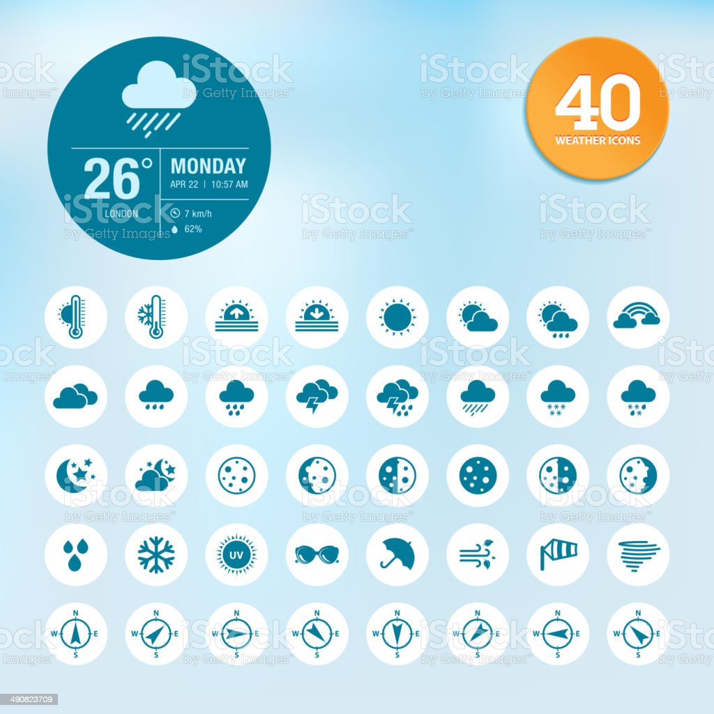 Set of weather icons and widget template vector art illustration