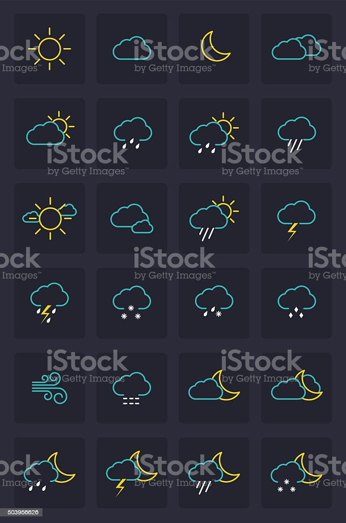 Set of Weather Icons vector art illustration