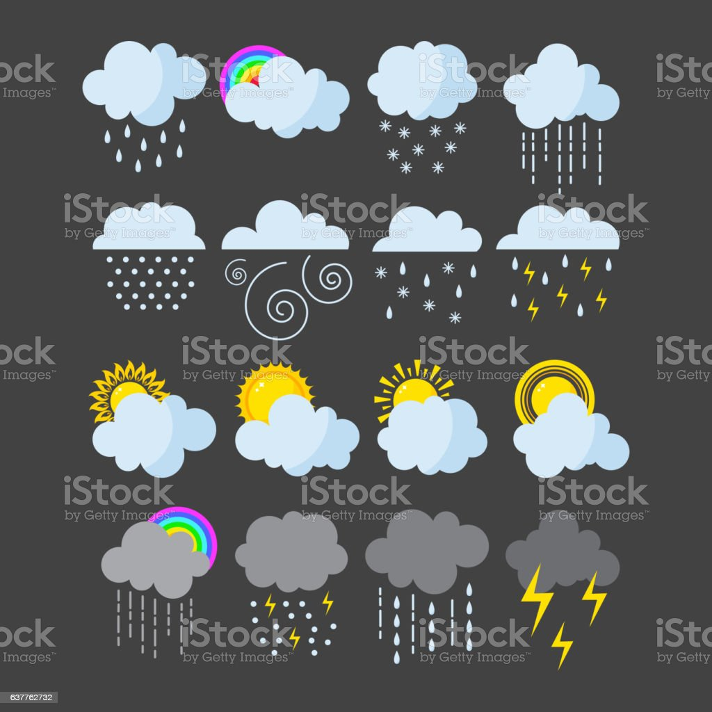 Set of weather icons vector. vector art illustration