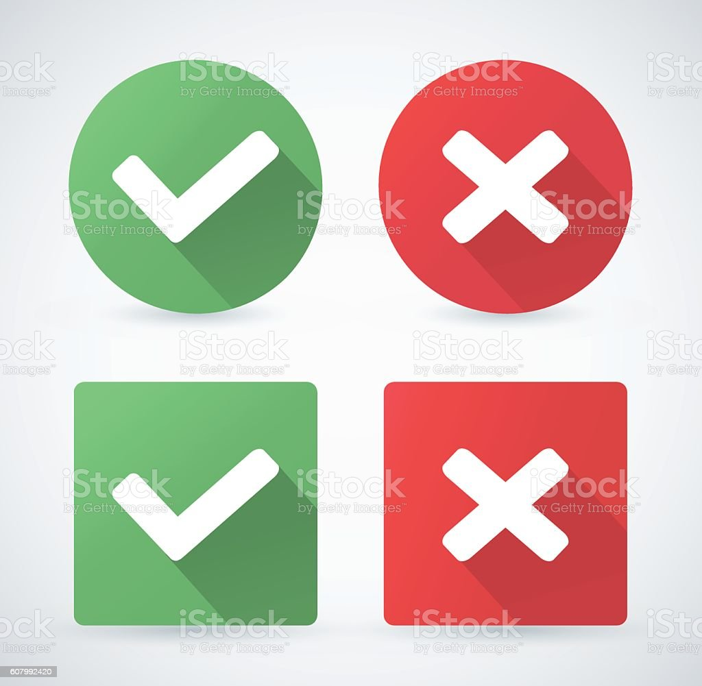 Set of web buttons green and red check marks vector art illustration