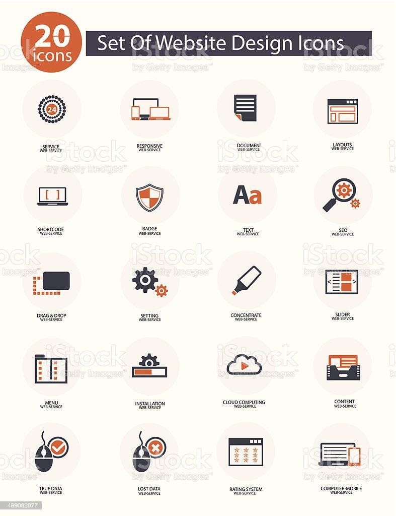 Set Of Web Design Icons,Orange version,vector vector art illustration