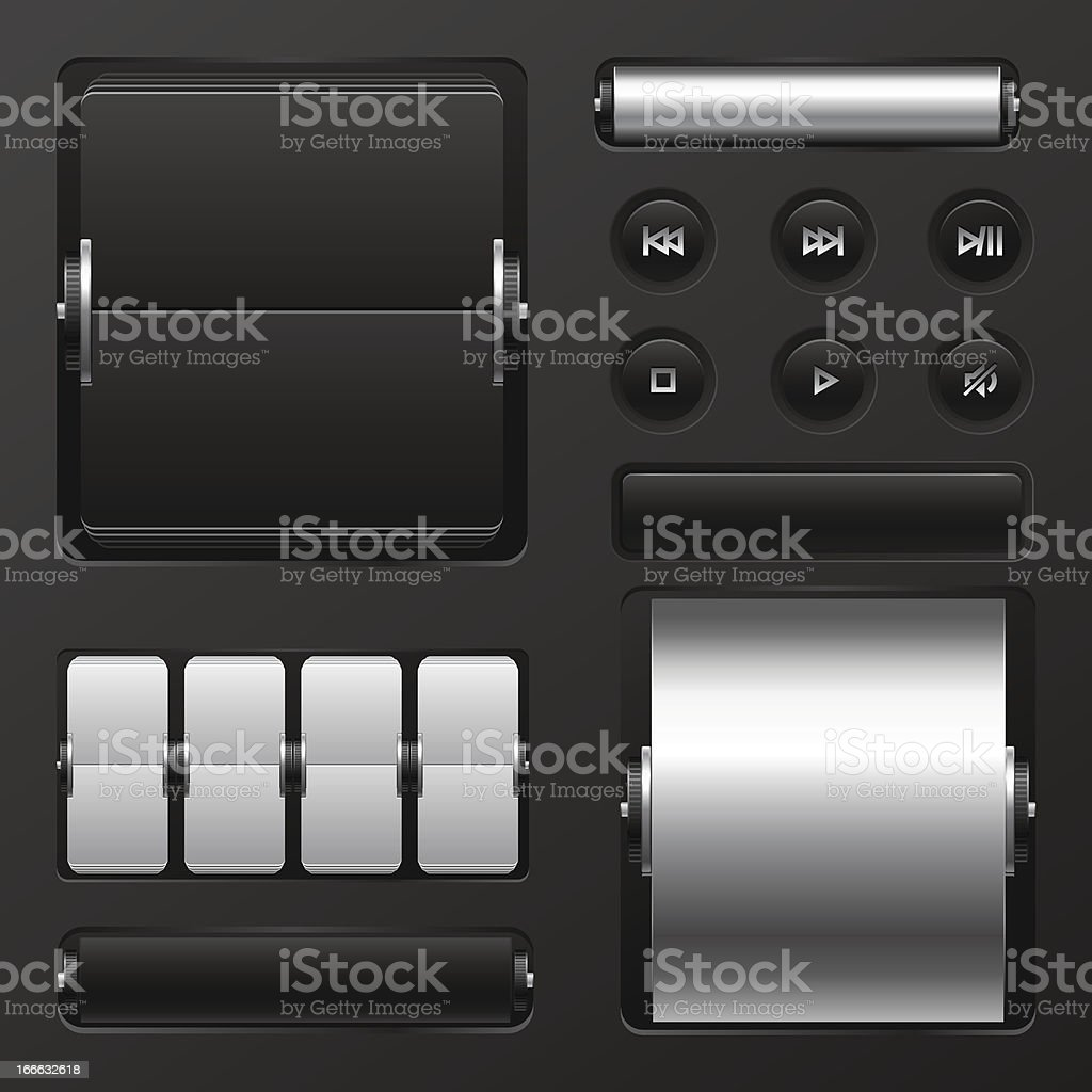 Set of web elements mechanical scoreboard and buttons. royalty-free stock vector art