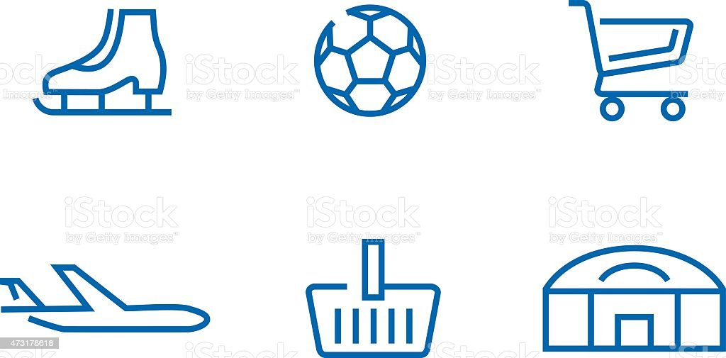 Set of web icons for different objects, sport centers, shopping vector art illustration