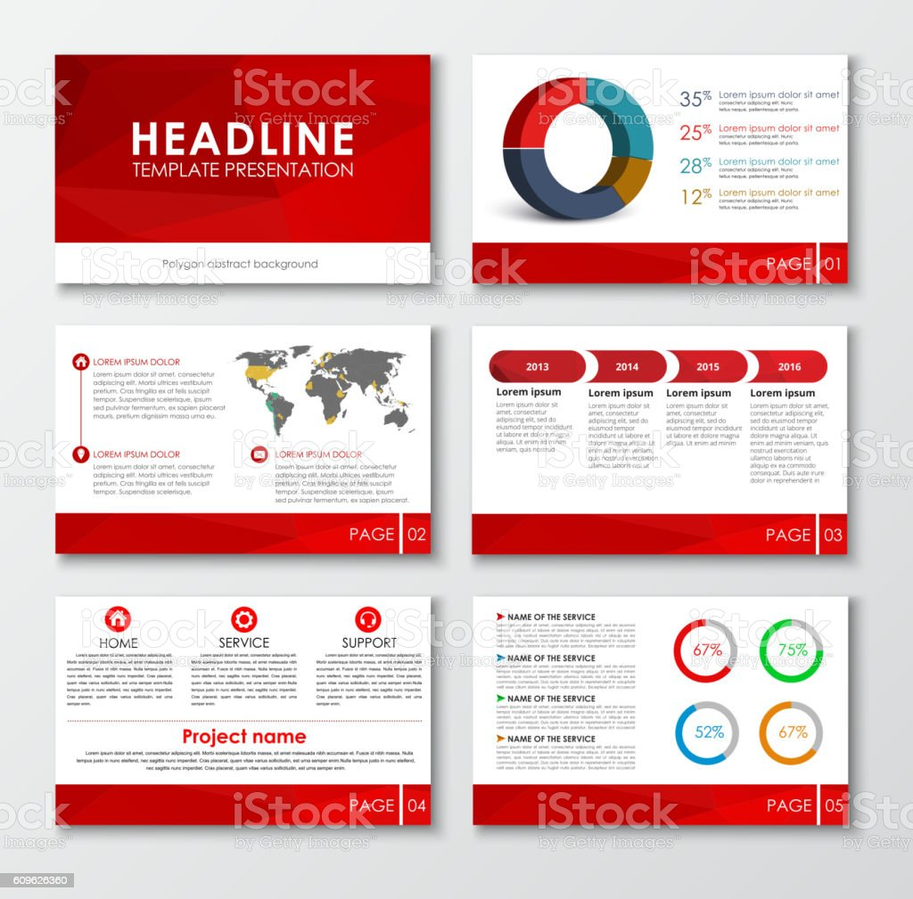 Set of web presentation slides royalty-free stock vector art