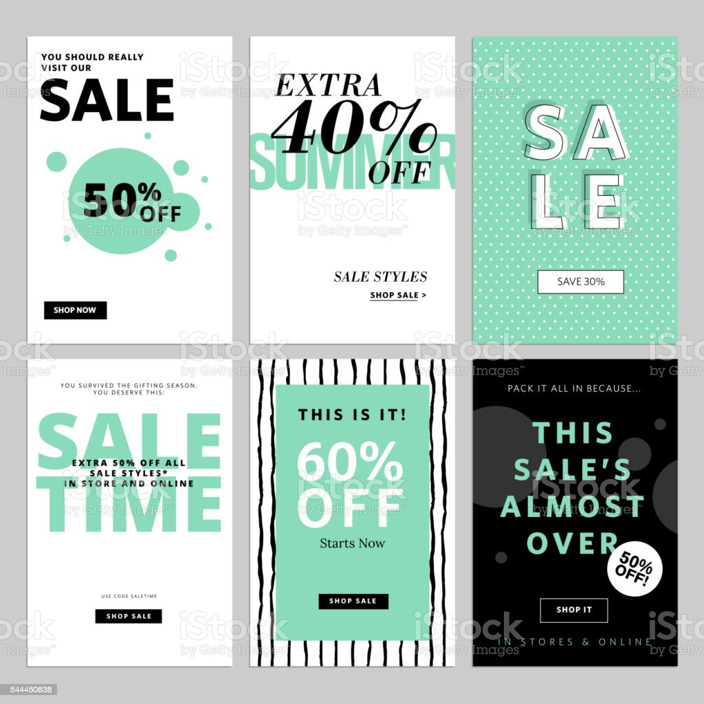 Set of website banners and emails for sale vector art illustration