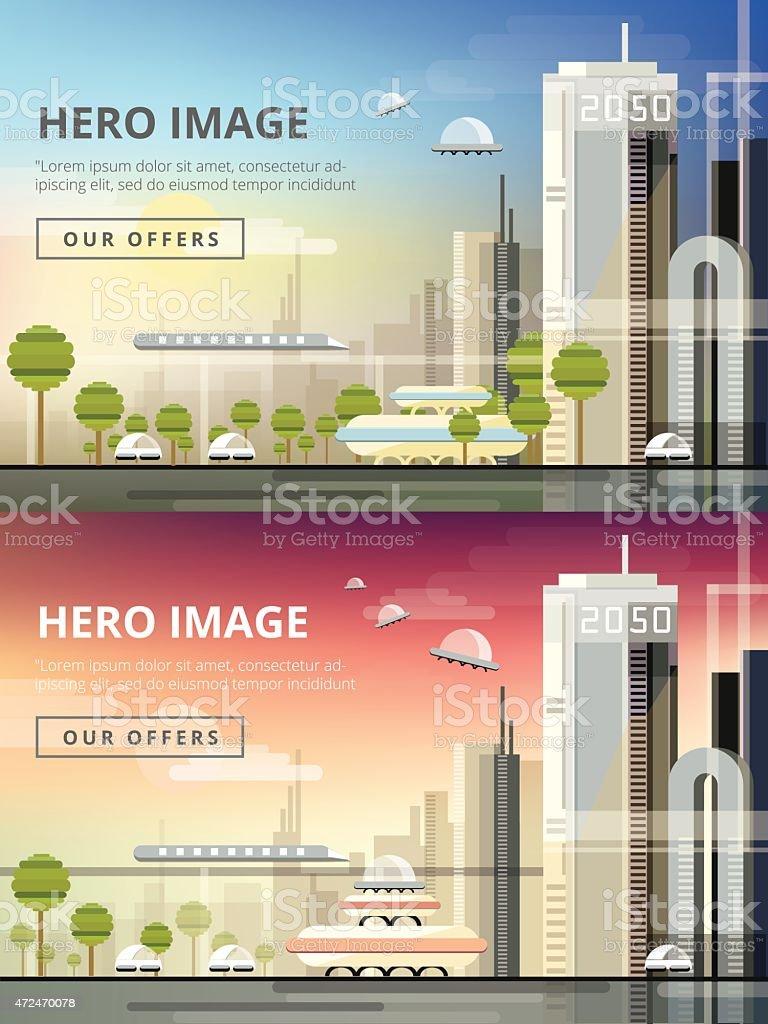 set of website hero images in flat design- urban cityscape vector art illustration