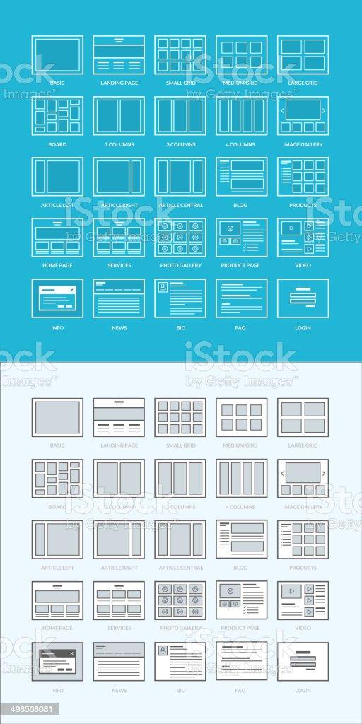Set of website wireframes vector art illustration