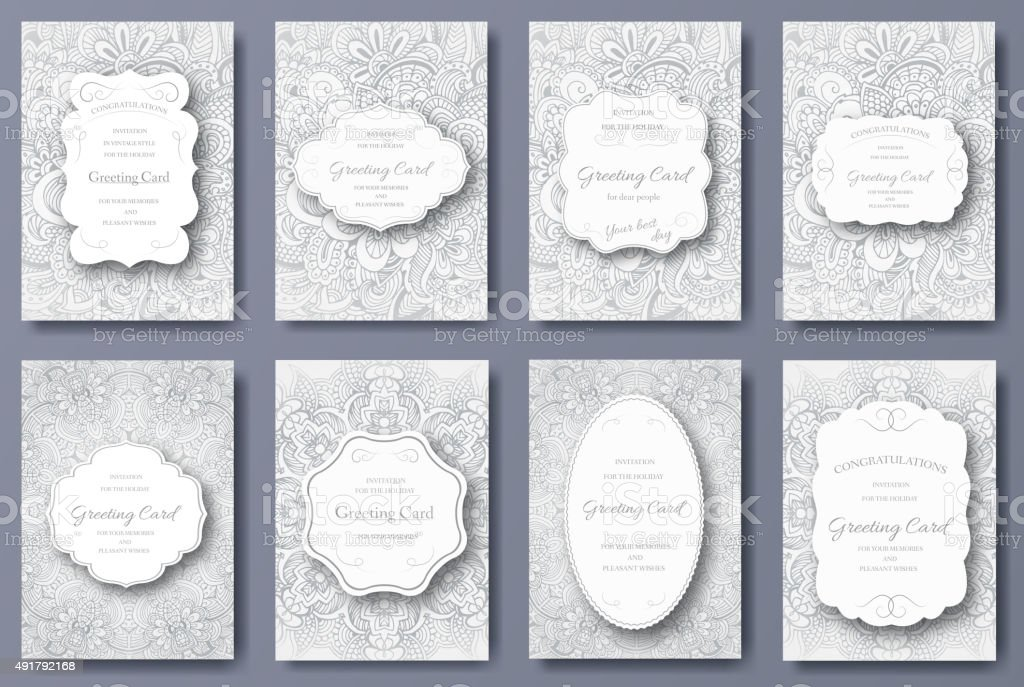 Set of wedding card flyer pages ornament. Art traditional vector art illustration