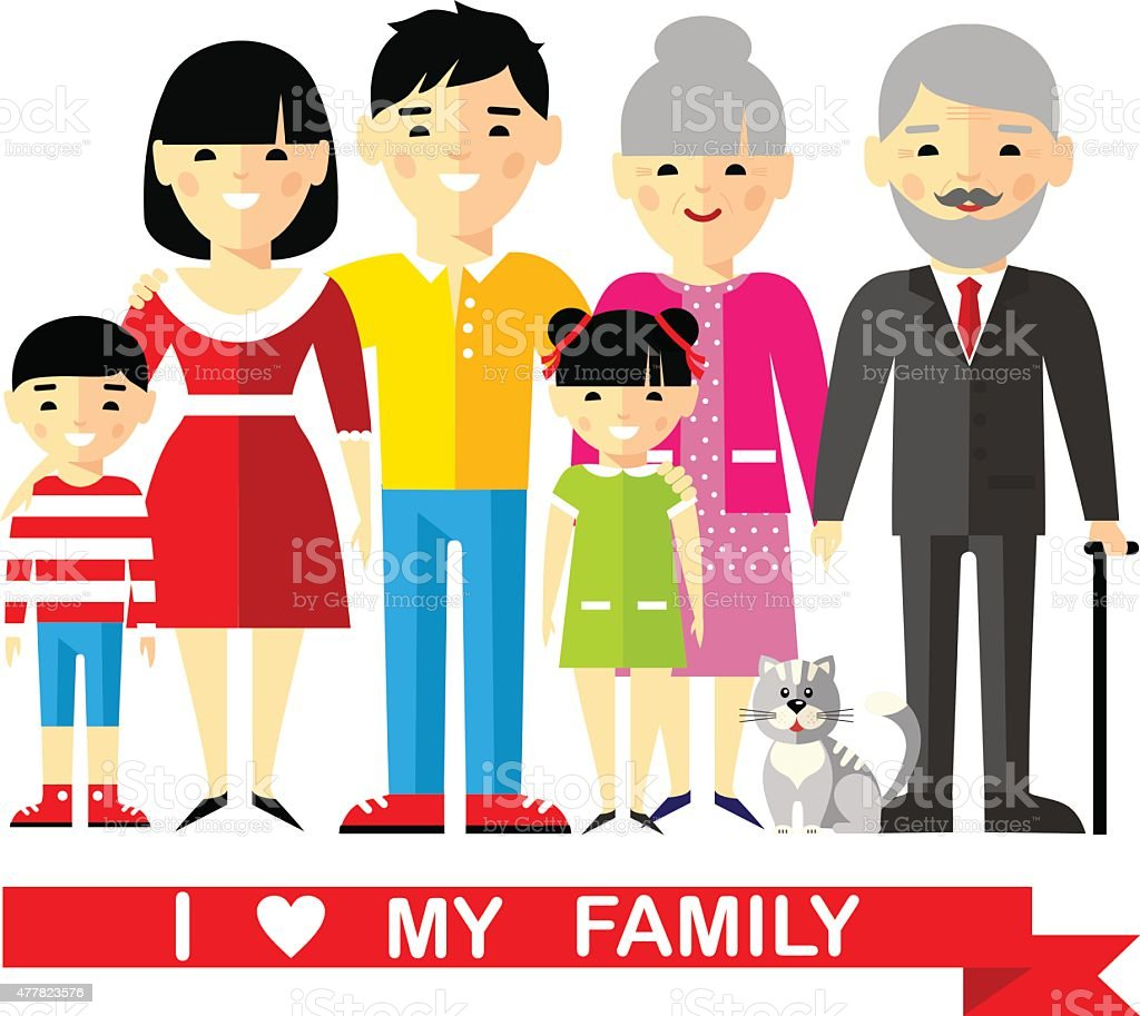 Set of wedding couple, pregnant parents, grandparent, young family vector art illustration