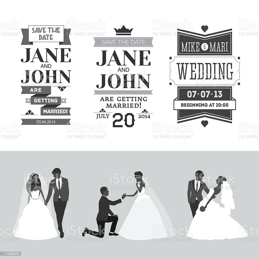 Set of wedding design elements in black and white royalty-free stock vector art