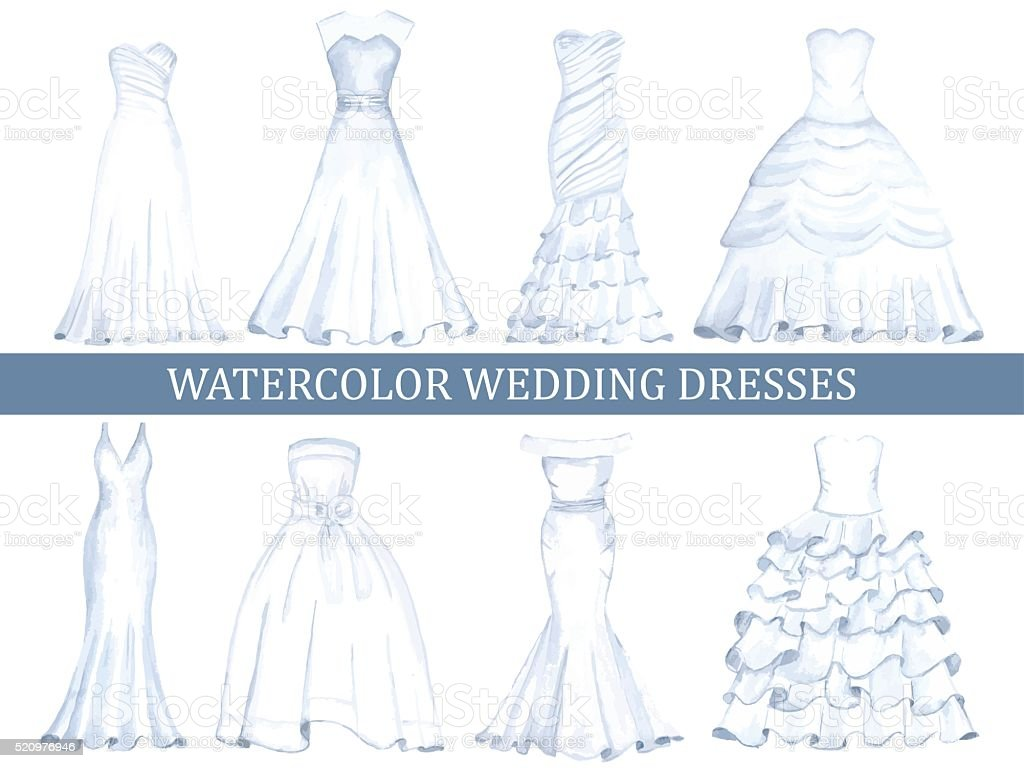 Set of wedding dresses vector art illustration
