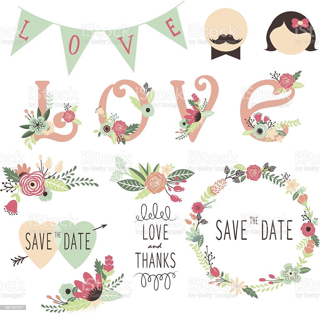 Set of wedding flora invitation design elements vector art illustration