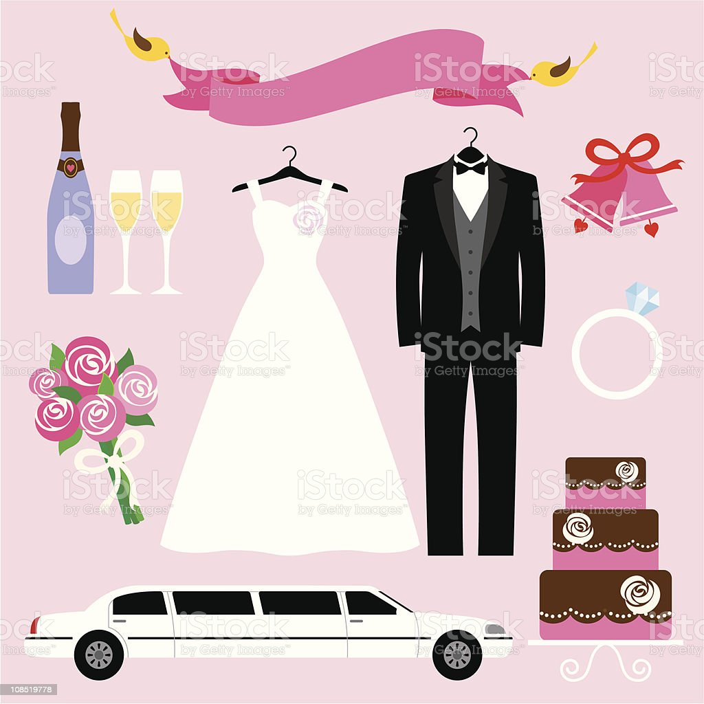 Set of wedding graphics for bride and groom vector art illustration