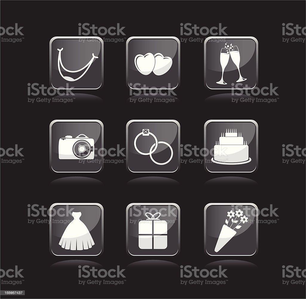 set of wedding icons royalty-free stock vector art