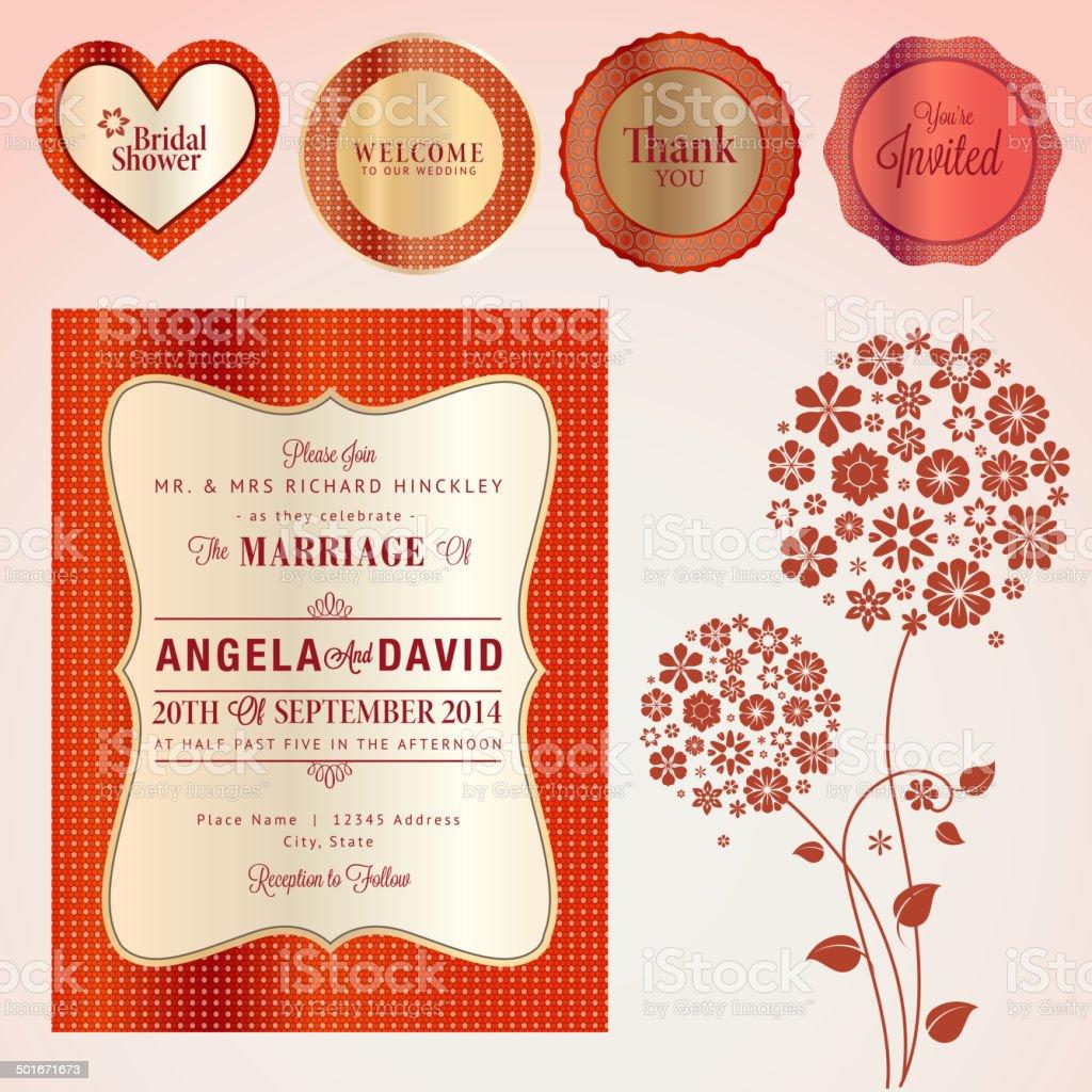 Conjunto de elementos y tarjeta de invitación de boda illustracion libre de derechos libre de derechos
