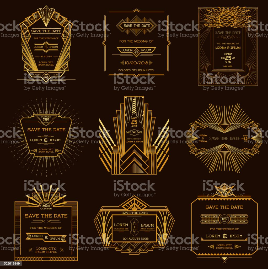 Set of Wedding Invitation Cards - Art Deco Style vector art illustration