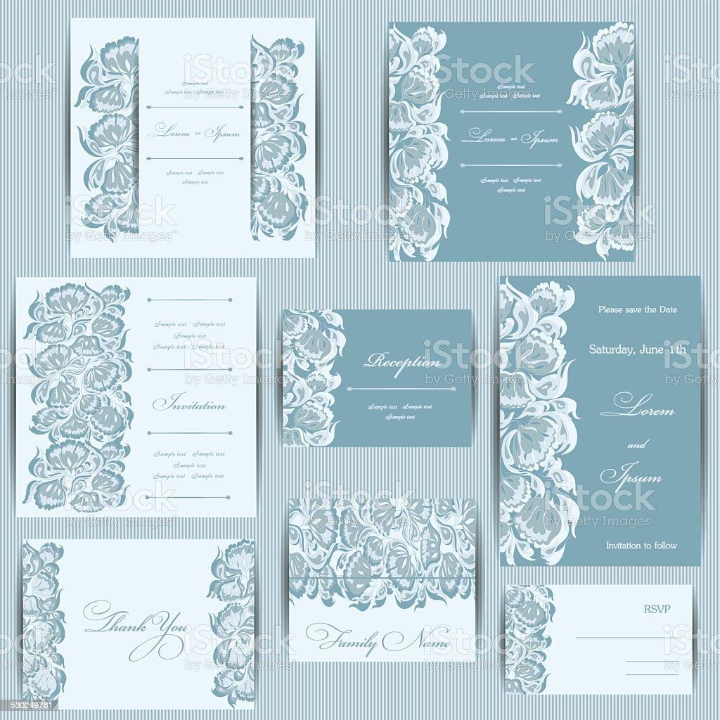 Set of wedding invitation cards vector art illustration