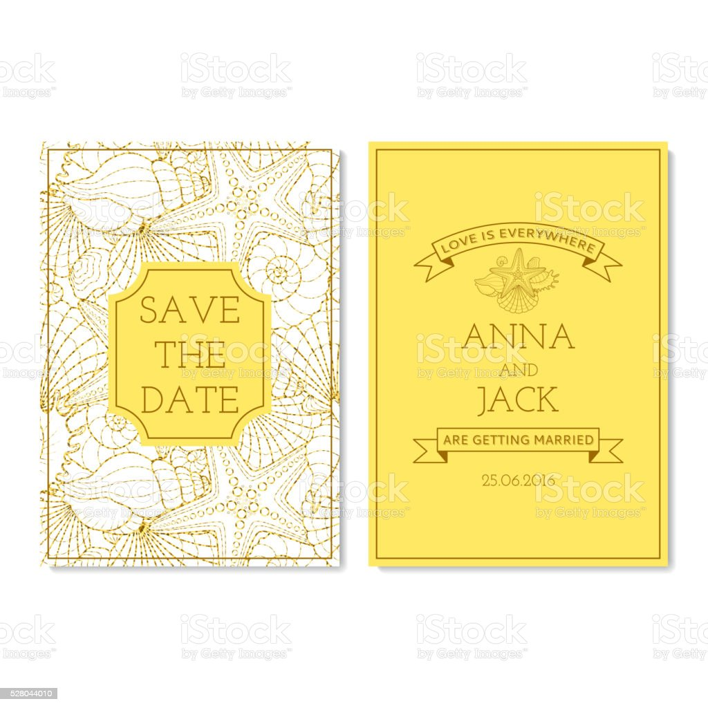 Set of wedding invitation cards with glitter seamless pattern. royalty-free stock vector art