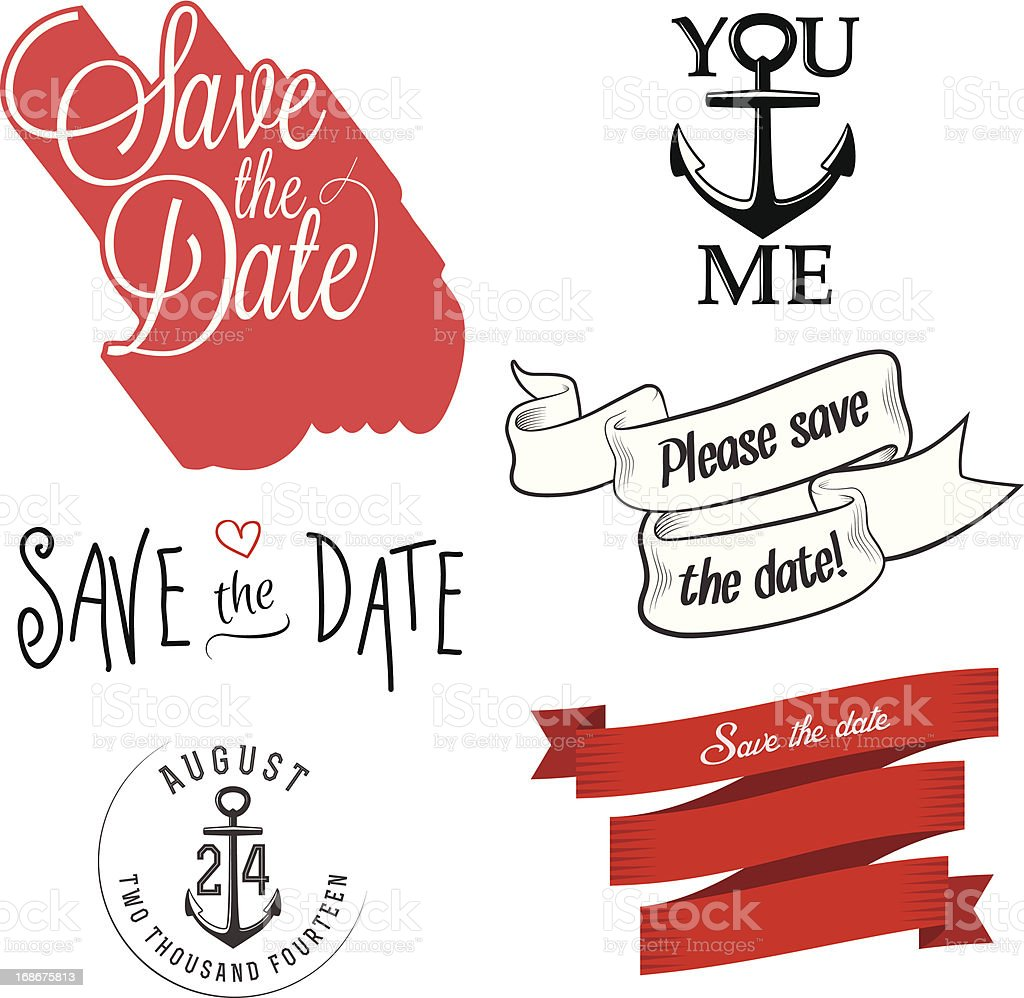 Set of wedding invitation typographic design elements royalty-free stock vector art
