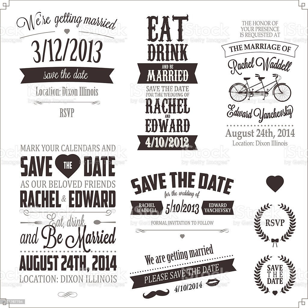 Set of wedding invitation vintage typographic design elements royalty-free stock vector art