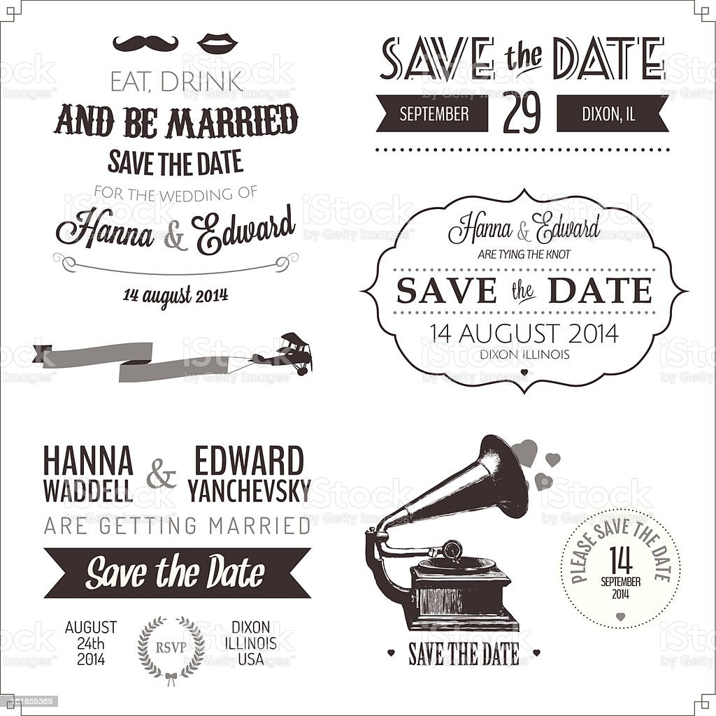 Set of wedding invitation vintage typographic design elements vector art illustration