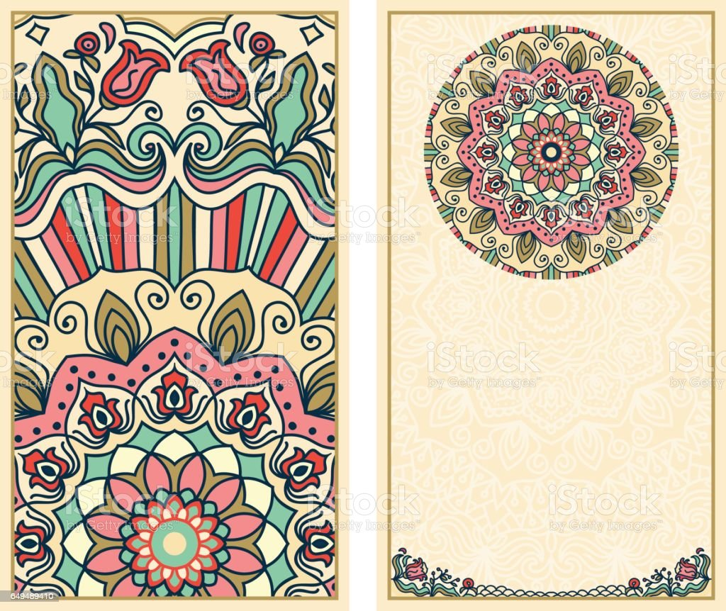 Set of wedding invitations or greeting cards with colorful floral mandala vector art illustration
