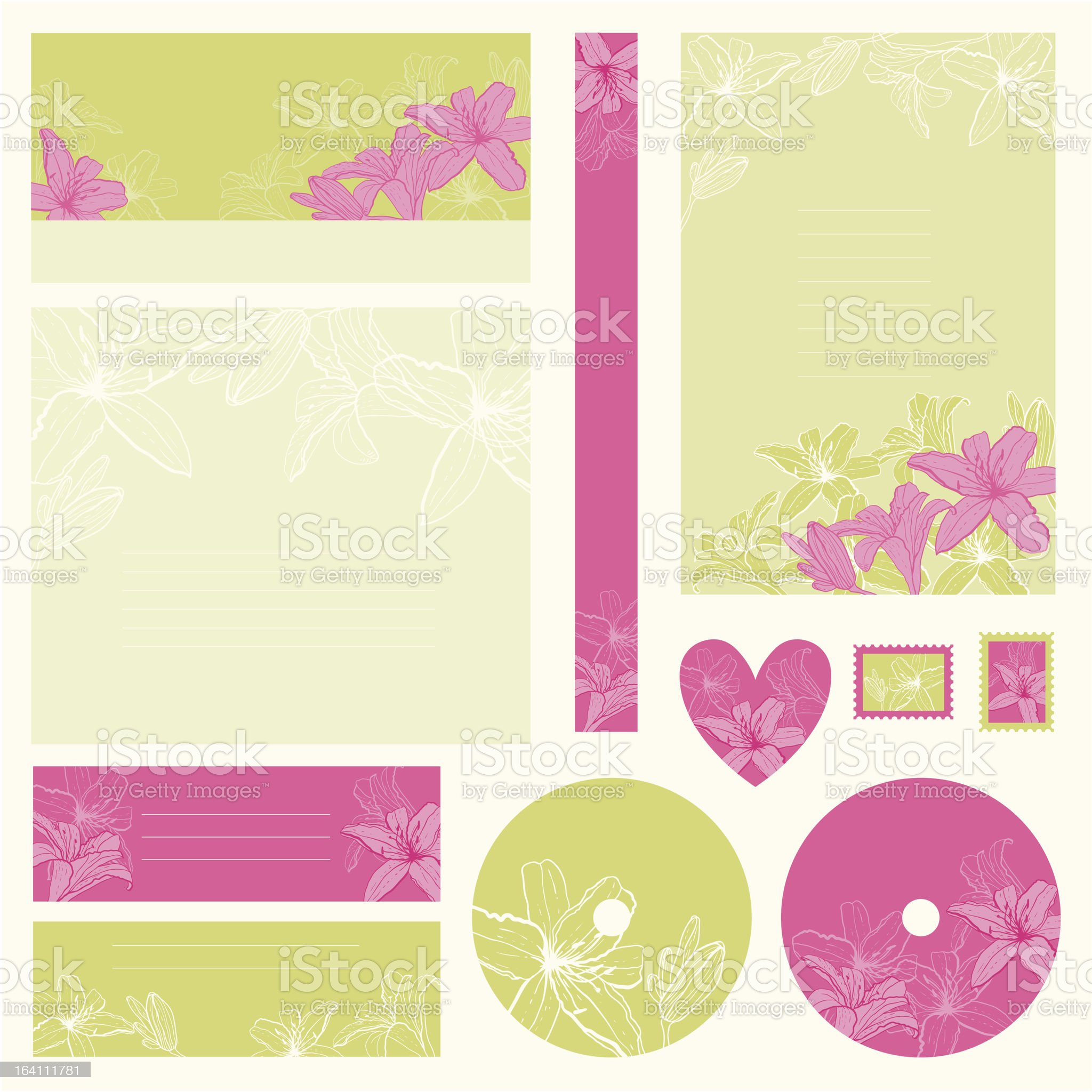 Set of wedding invitations with flowers background. royalty-free stock vector art