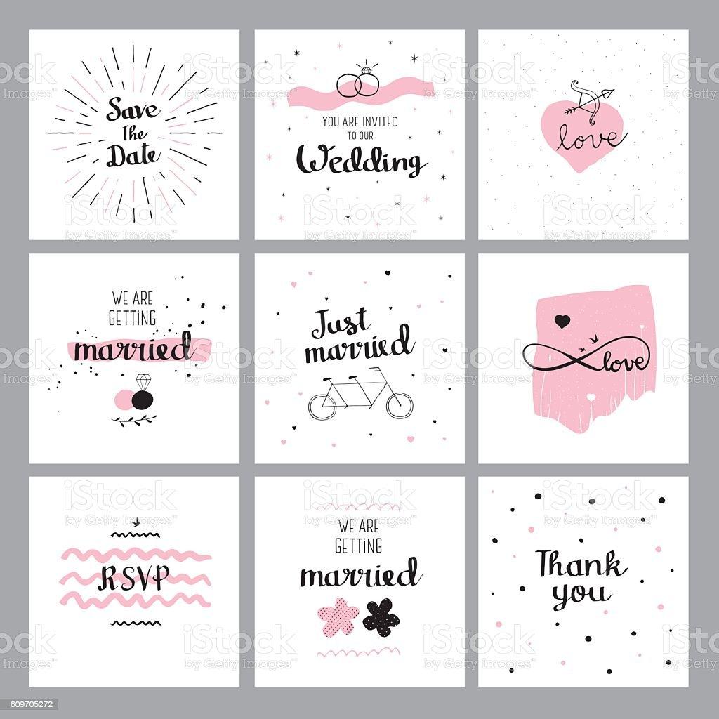 Set of wedding quotes vector art illustration