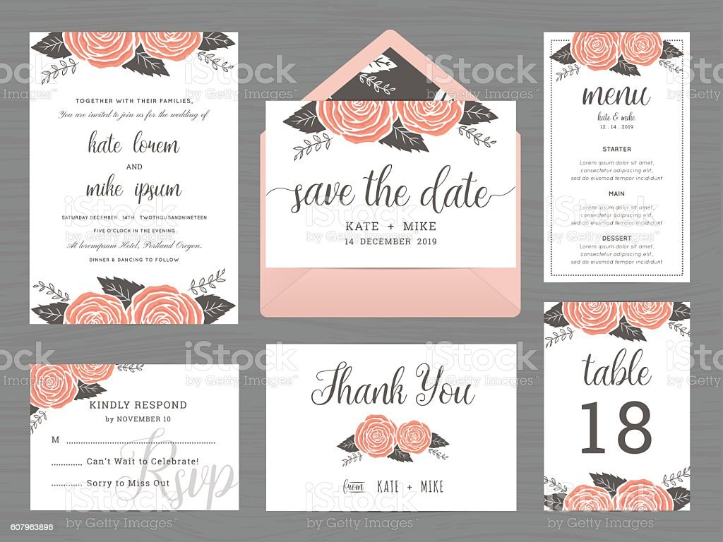 Set of wedding suite template decorate with rose flower. vector art illustration