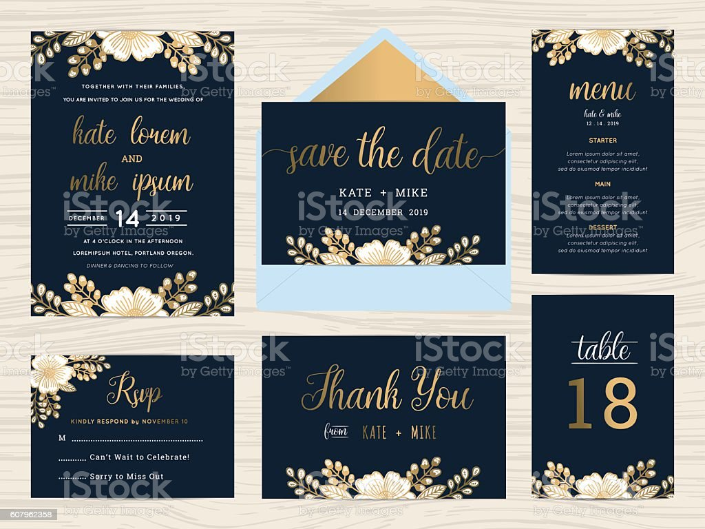 Set of wedding suite template decorate with wreath flowers. vector art illustration