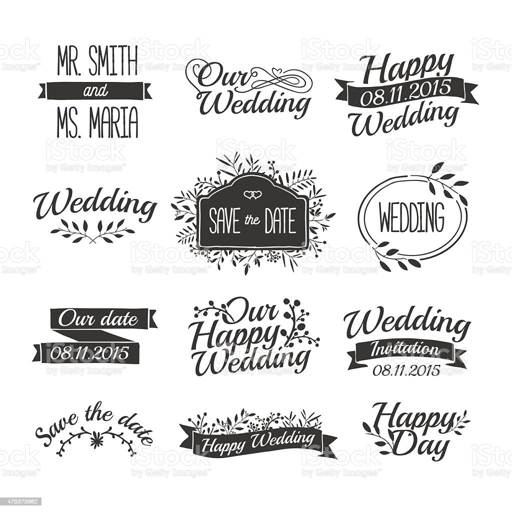 Wedding ornaments - Set Of Wedding Vintage Retro Logos Floral Ornaments And Ribbons Royalty Free Stock