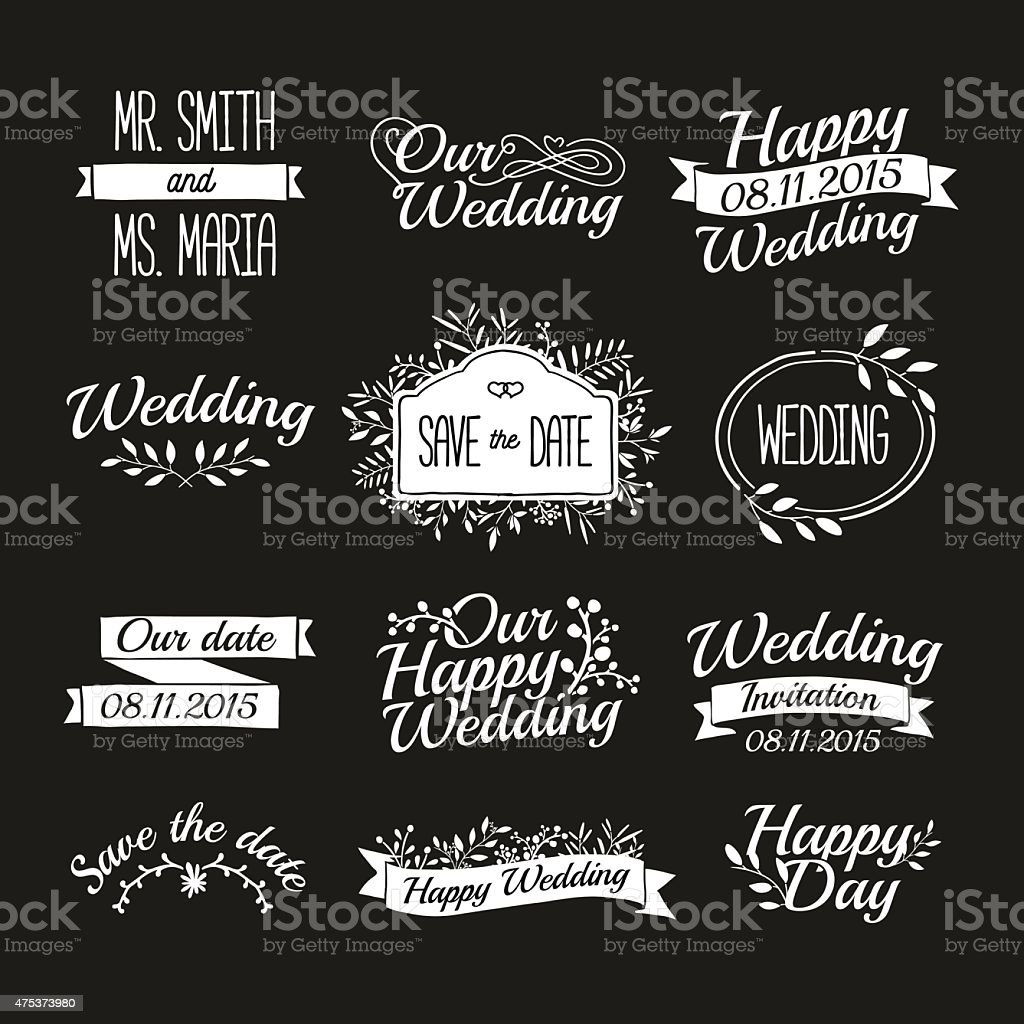 Set of wedding vintage retro logos. Typographical with floral elements. vector art illustration