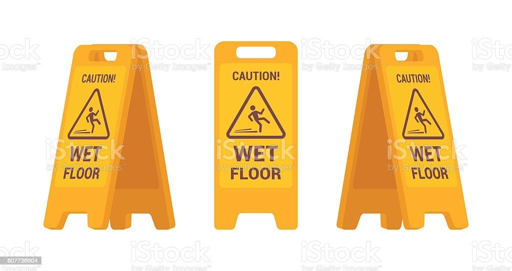 Set of wet floor sign vector art illustration