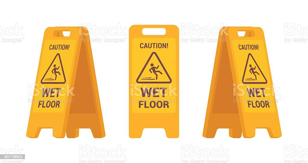 Set of wet floor sign vector art illustration