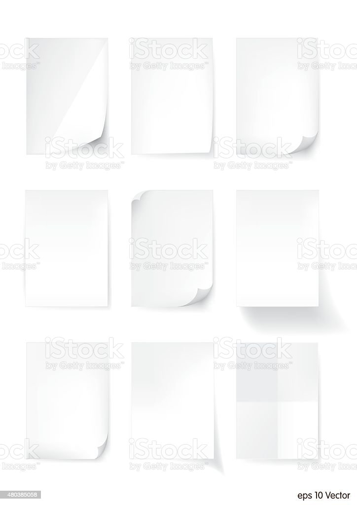 Set of White A4 size paper sheet, Vector vector art illustration