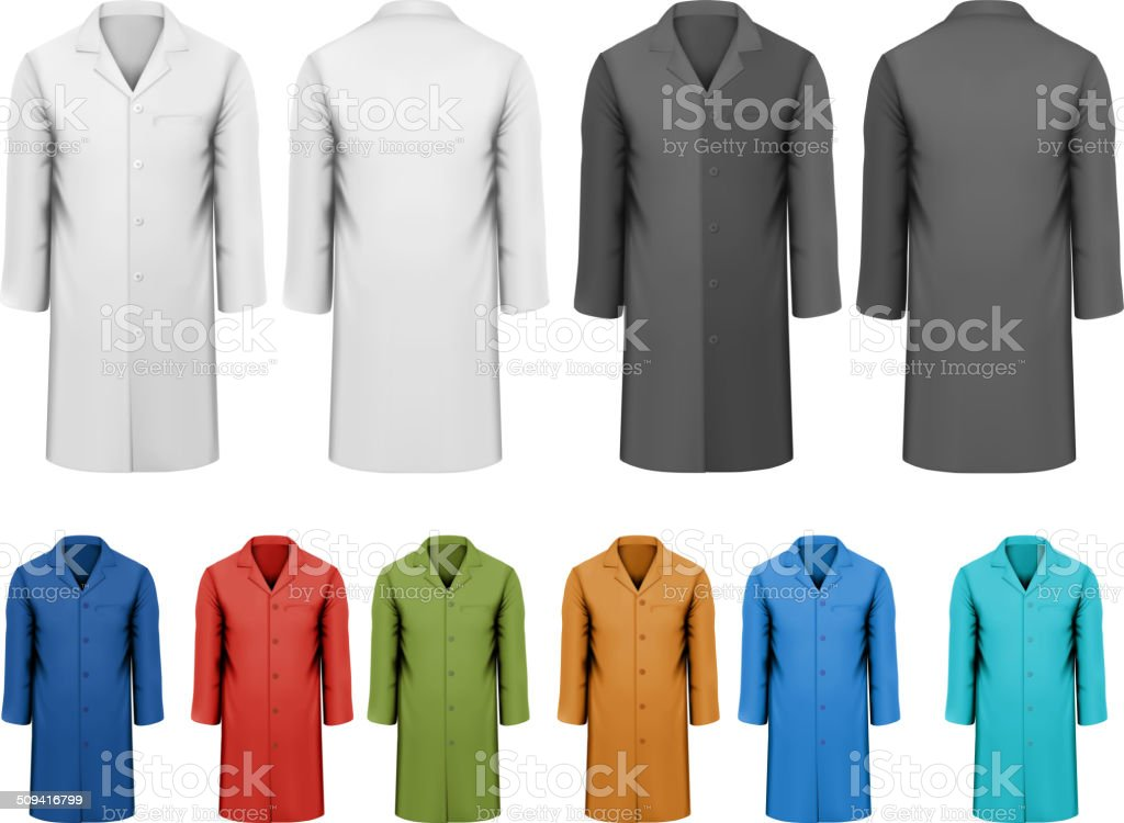 Set of white and black colorful work clothes. Vector vector art illustration