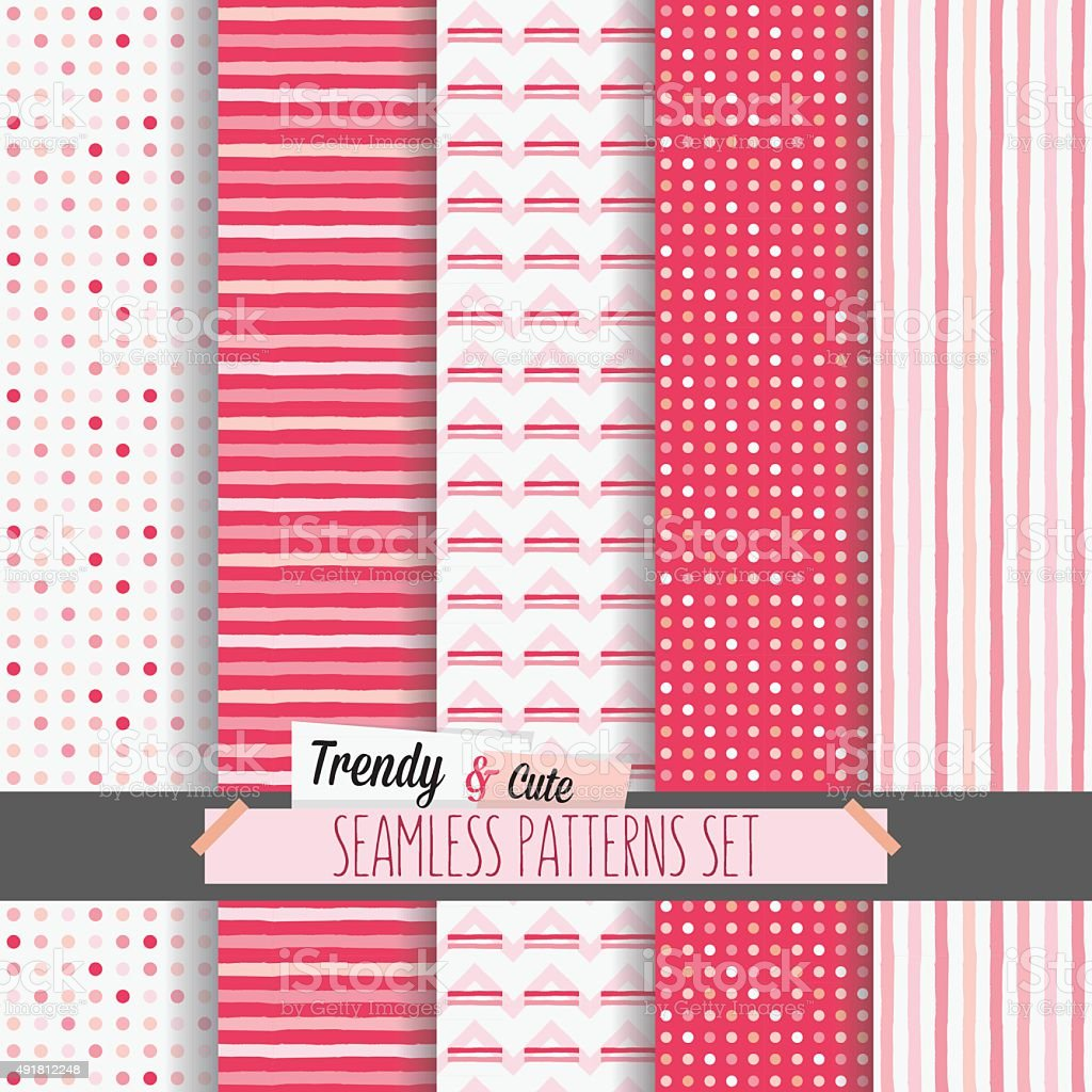 Set of white and pink dotted stripes and chevron seamless patterns vector art illustration