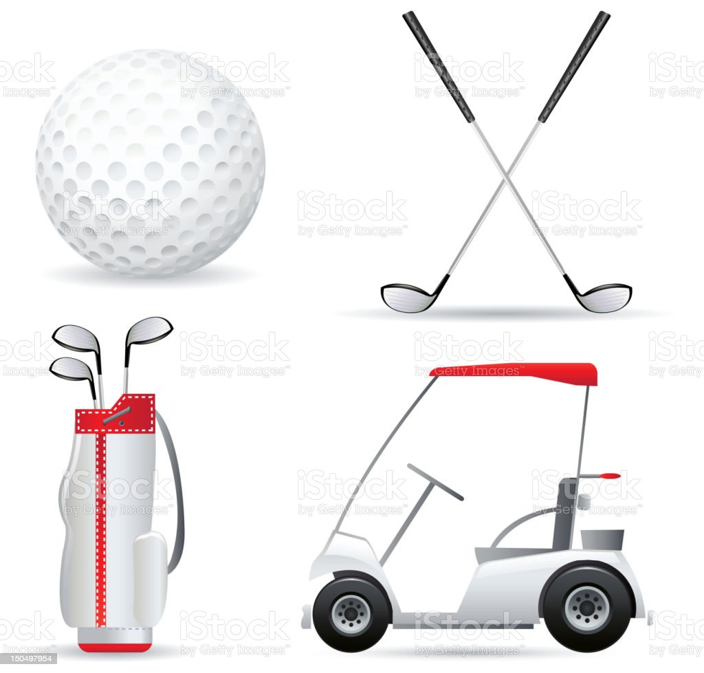 A set of white and red golf icons vector art illustration