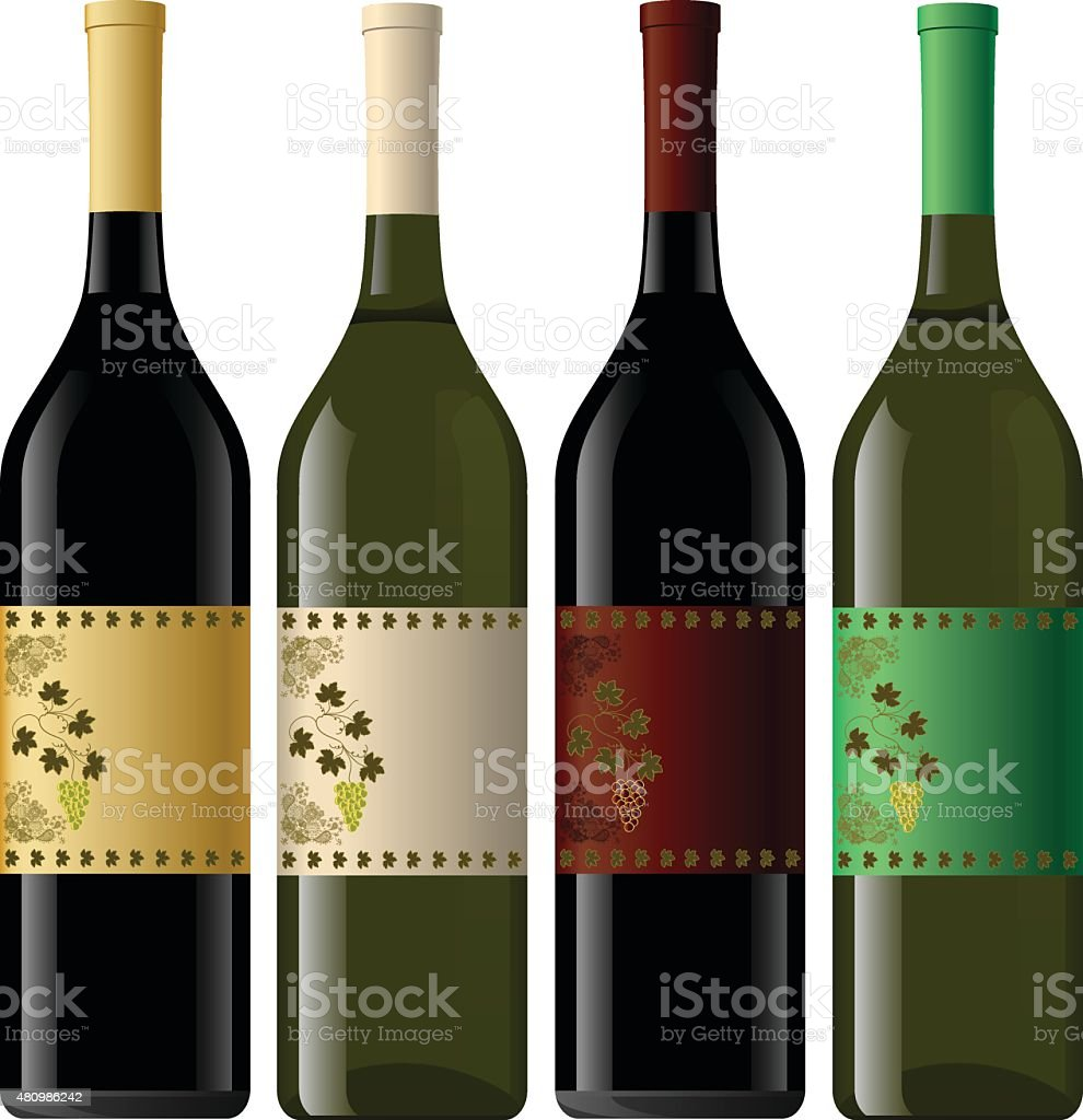 Set of White and Red Wine Bottles. vector art illustration
