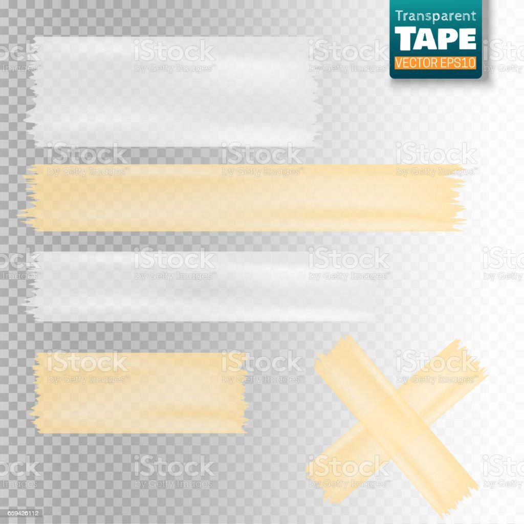 Set of white and yellow transparent scotch tape sticky slices vector art illustration
