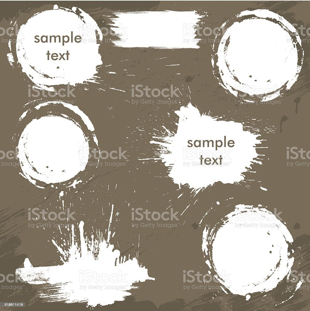 Set of white blots and ink splashes. Abstract elements vector art illustration