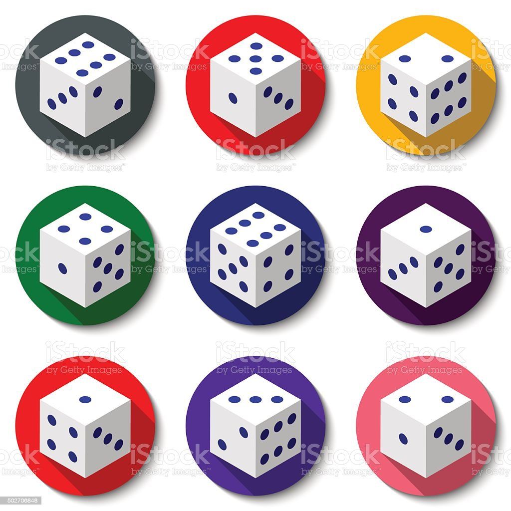 Set of  white casino dice on a colorful background vector art illustration
