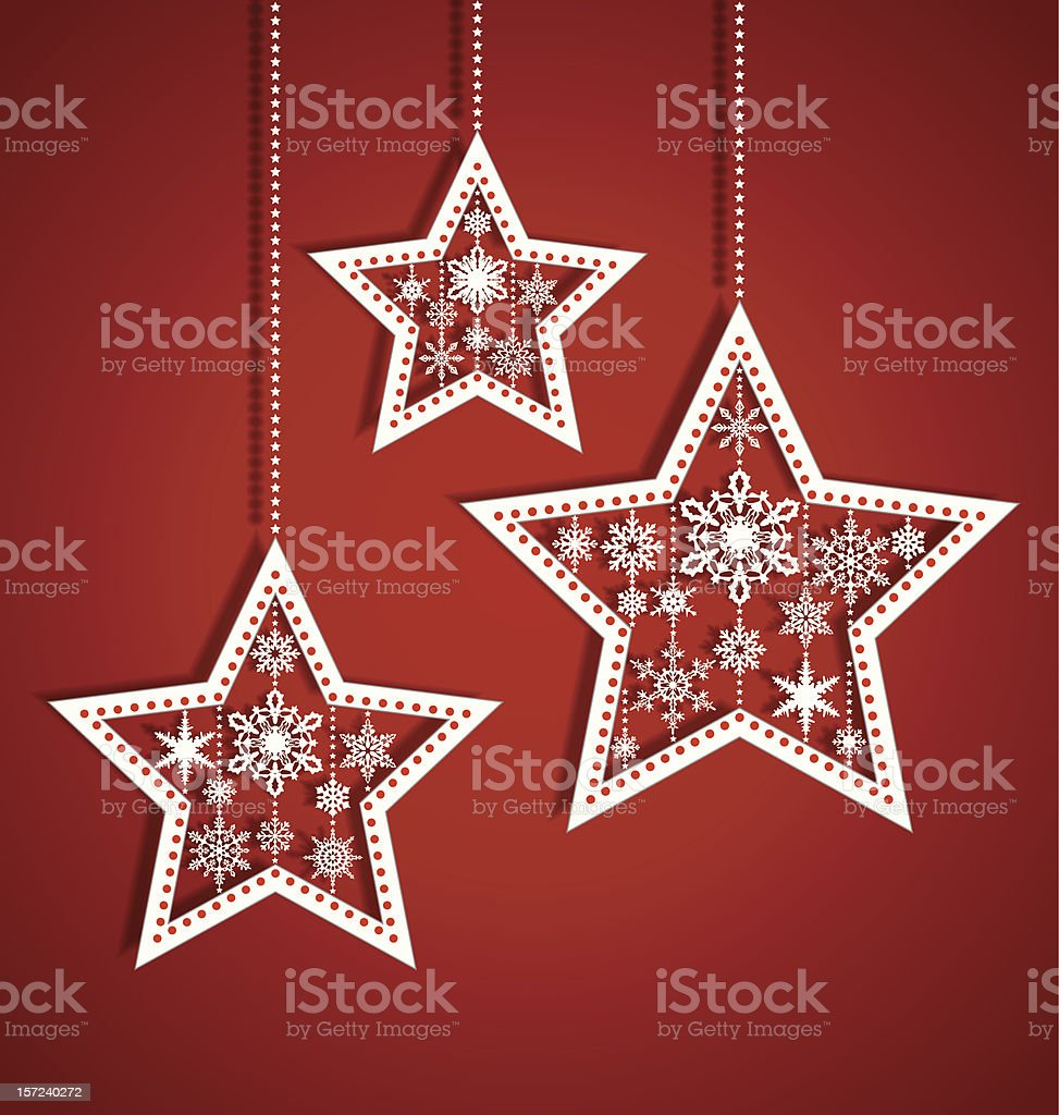 Set of white Christmas stars against a red background royalty-free stock vector art